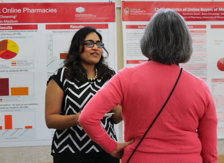 A student discusses her research on online medication purchasing trends and challenges